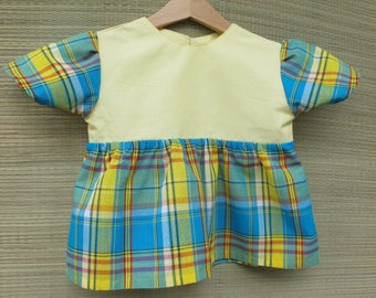 girl in blue and cotton madras shirt 4t yellow