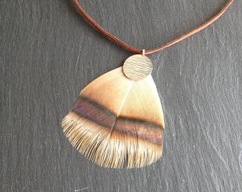 Necklace big rare natural feather
