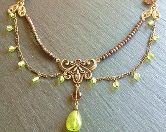 peridot smoky quartz bib necklace