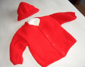 Vest and hat boy red 18 months/2 years