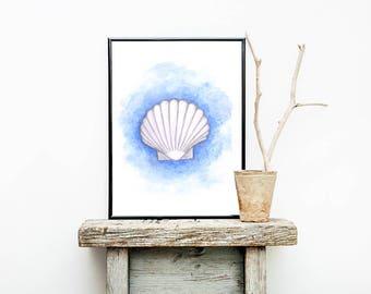 Sea Shell Print, Watercolour Painting, Sea Shell Painting, Nursery Print, Sea Wall Art, Ocean Poster, Shell Decor, Handdrawn