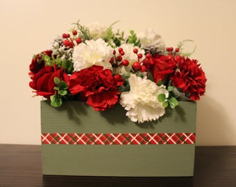 Red and Green Christmas  Centerpiece | Holiday Centerpiece | Burlap Centerpiece