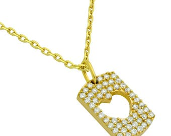 """Gold plated cz pave tag necklace with cutout heart 16"""" + 2"""""""
