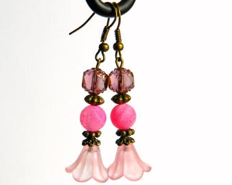 Pink agate and Crystal floral and poetic earrings
