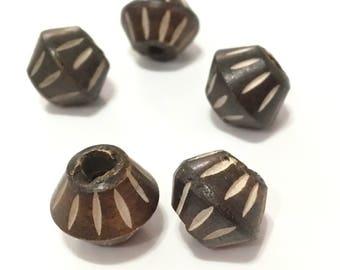 ❤ X 6 bone beads natural 12x14mm ❤