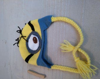 Hand-made crochet Minion hat with earflap