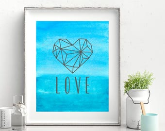 Geometric Heart Printable Poster