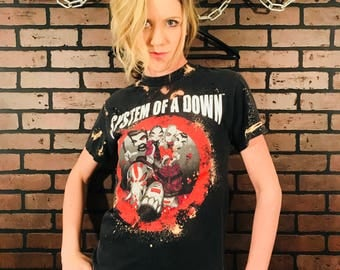 System of a Down T-Shirt-Distressed Tee-System of a Down Tee- Destroyed tee-t-shirt-Rock Culture-Tour Shirt-Bleached-t shirt-Band-Punk Rock-