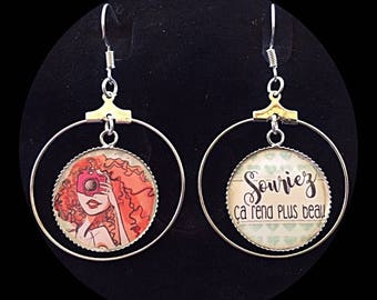 "Earrings cabochon ""smile it makes it more beautiful"""