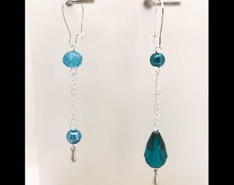 Earrings blue mirror