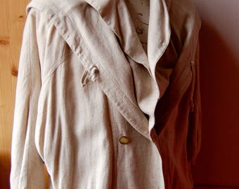 Linen coat natural type parka with hood