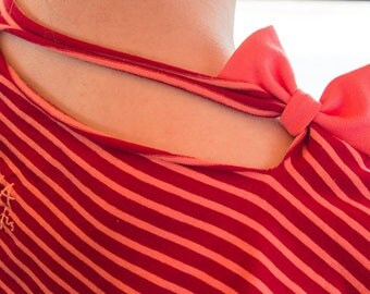 "= ^^ = #6 tag: ""bi-gout"" coral striped top"