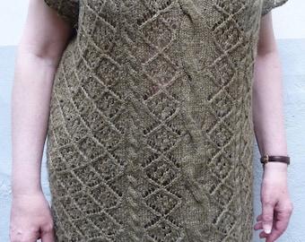 To order, green tunic sweater of acrylic yarn and hemp