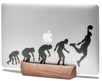 Man Evolution to BasketBall Decal Sticker for Macbooks and other Laptops | Basket ball NBA Sports Baller Player Slam Dunk, mac