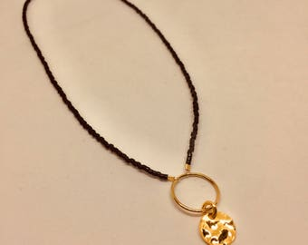 Black/ goldplated necklace