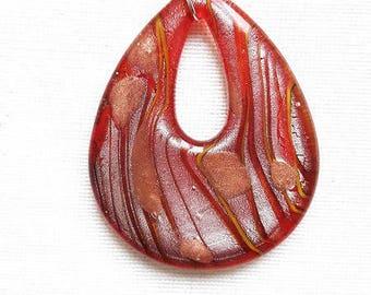 Cork, orange pendant necklace