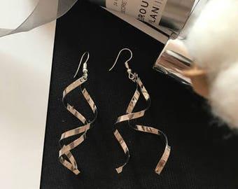 Silver Spaghetti Modern Earring