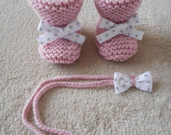 Booties baby pink wool and star bow and headband