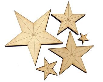 Blank Wooden Star Plywood Scrapbooking Embellishment Wedding Decor Christmas