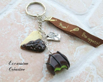 "Keychain ""sweet chocolate pistachio"" clay polymer made entirely by hand"