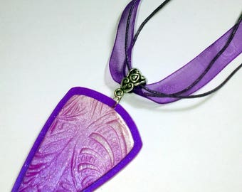 Polymer clay pendant Mica shift gradient purple - beaded colors - completely hand made
