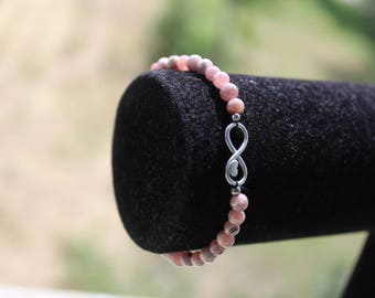 Bracelet rhodochrosite stone that symbolizes the source in warm water, stamped 925 sterling silver