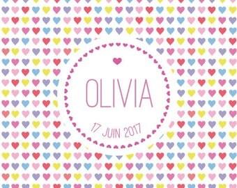 Heart girl birth announcement