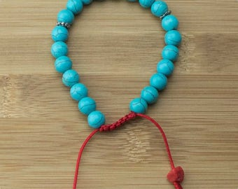Turquoise Magnesite Yoga Beads Bracelet with Red Bamboo Coral | 8mm | Yoga Jewelry | Meditation Bracelet | Buddhist Bracelet | Free Shipping