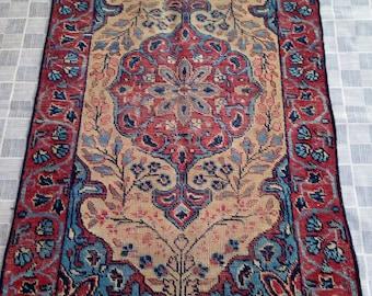 Persian Kerman Rug, Antique Persian Rug, One of Kind Persian Rug, Small Kerman Rug, Low Pile Rug