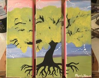 3 Piece Canvas Original Tree Acrylic