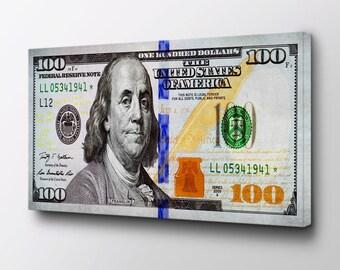 Big Benjamin Money Canvas - 100 Dollar Bill Art - Ready to Hang - Entrepreneur Canvas Art - Benjamin Franklin