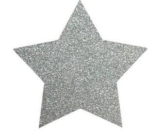 10 X 9.5 cm silver glittery star fusible pattern