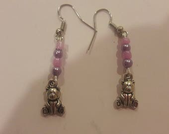 Bear charms with pink and purple beaded earrings