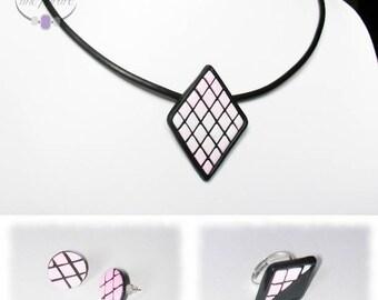 Pink diamond tiles, polymer clay set