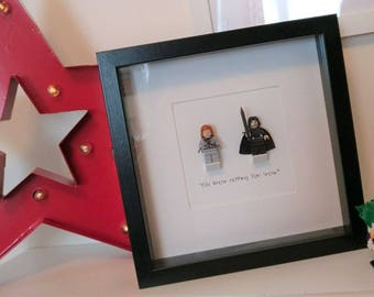 You Know Nothing Jon Snow - Game of Thrones Framed Custom Minifigures with Ygritte and Jon Snow.