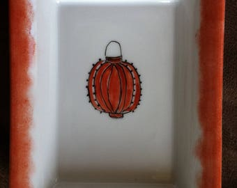 Small Red Chinese Lantern porcelain dish