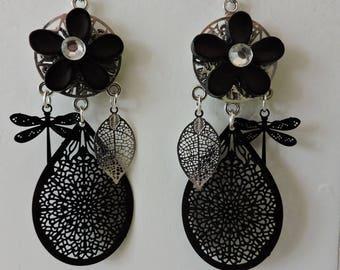 Black dangle earrings with prints