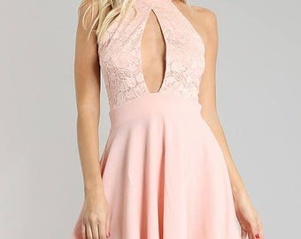 Baby Pink Lace Halter Dress
