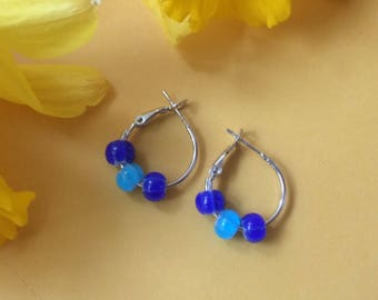 Hoop earrings with bright fun beads - Gold or Rhodium plated - 4 choices