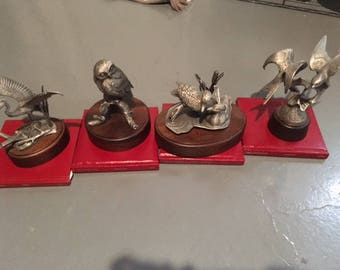 Four Burgues Bird  Sculptures  with books by John Bull