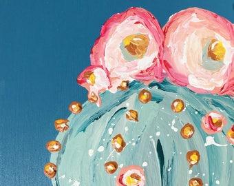 Blue Cactus Painting, Succulent Paint, Desert Flower