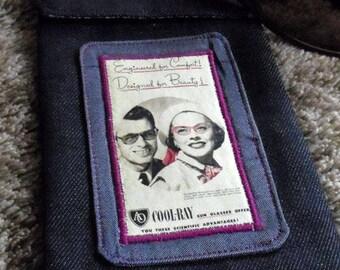 Denim vintage American optical 1972 advertising glasses case