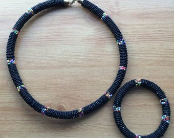 Classy Black Beaded Necklace