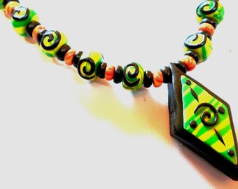 Necklace polymer clay spiral etnhique * the Ethni'cook Brazil *.
