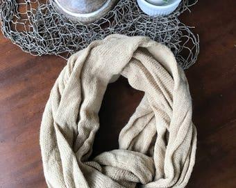 Tan Knit Infinity Scarf