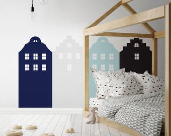 Wallsticker behind the bed pastel navy blue AMSTERDAM