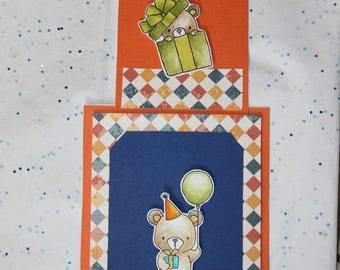 "greeting card ""happy birthday"" zipper bears"