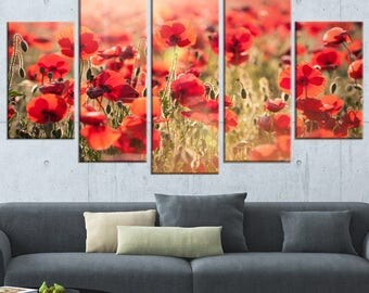 Beautiful Tuscan Red Poppies Canvas Art Print And Metal Wall Art Available  In Different Sizes (