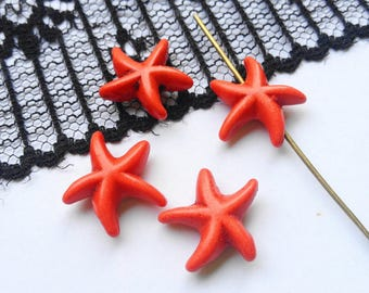 Starfish Howlite beads, stone, coral color, (R43) reconstituted stone beads