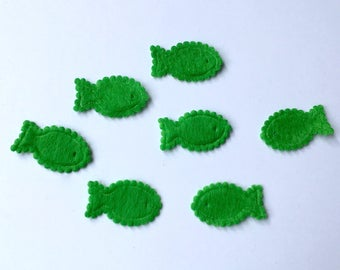 SET of 10 fish felt APPLIQUE - Greens - 23 mm (32D)